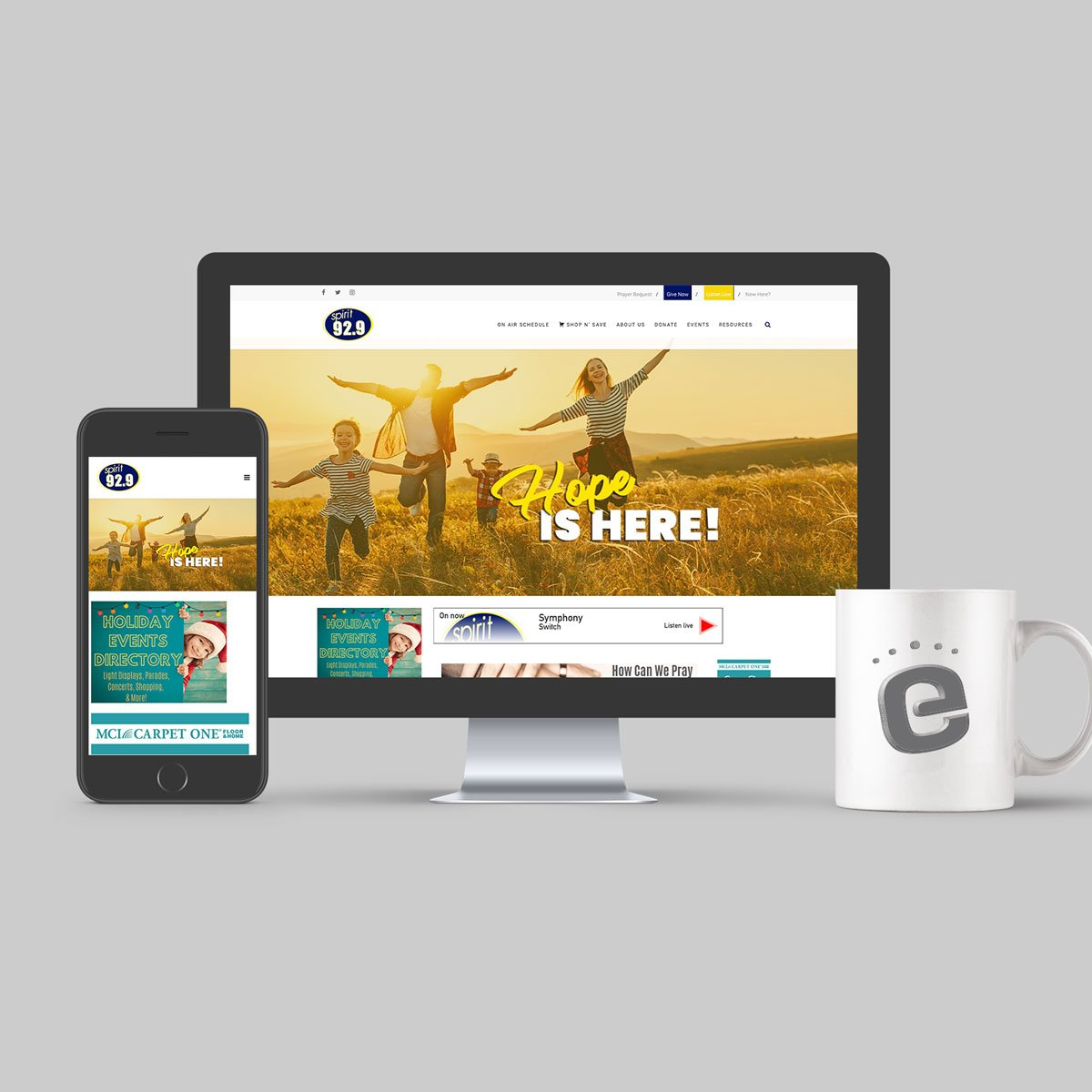 Gabriel Media's new responsive website showing desktop and mobile view
