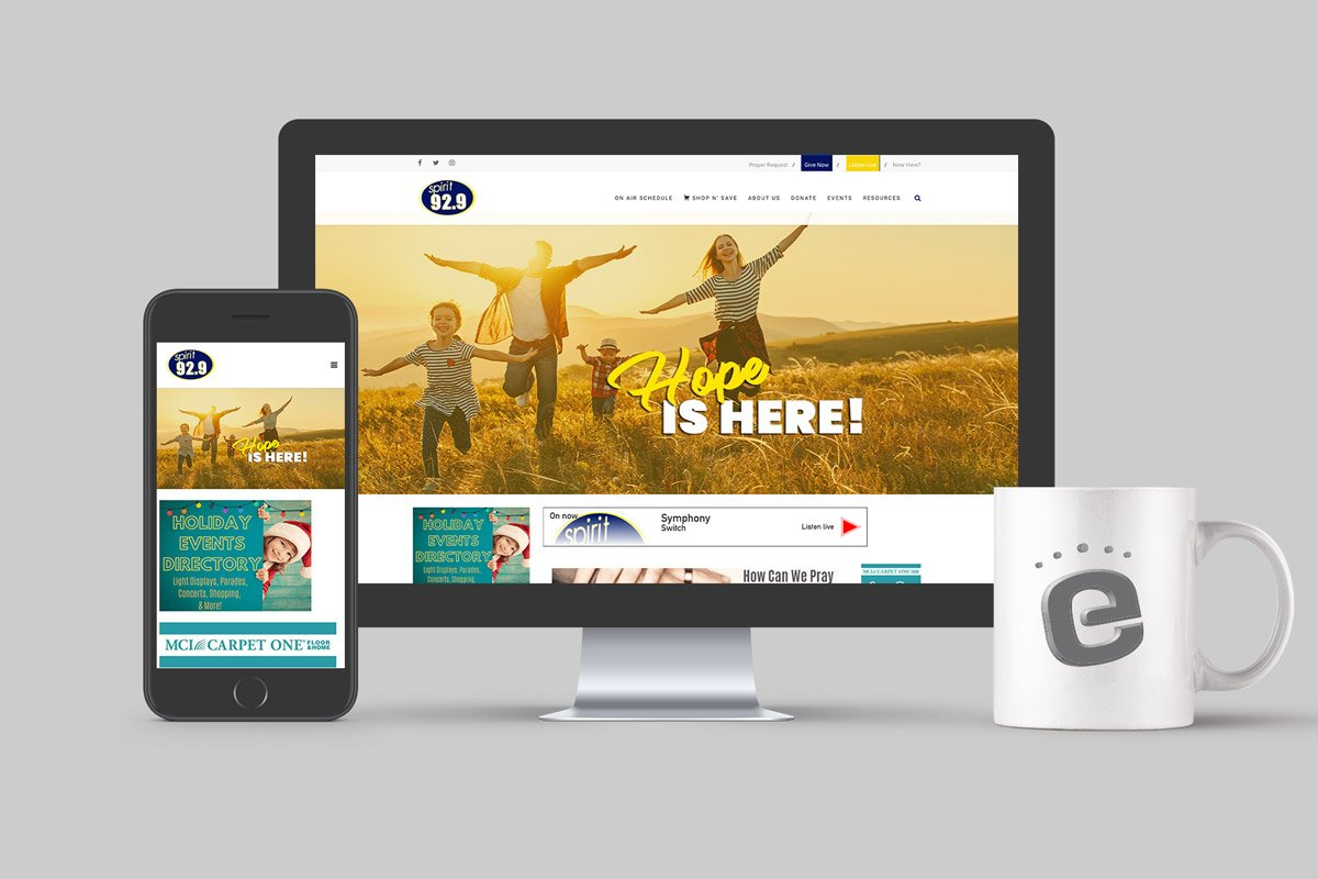 desktop, phone both show Gabriel Media website and Eyecon mug
